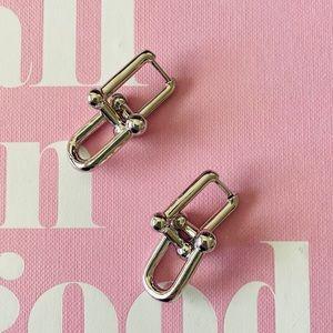 Silver Chunky Chain Geometric U Link Earrings